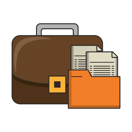 Business briefcase with documents symbols vector illustration
