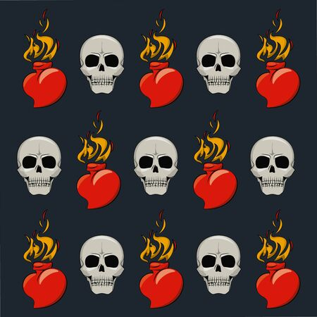 Tattoo studio old school background drawings heart flammes and skull vector illustration graphic design