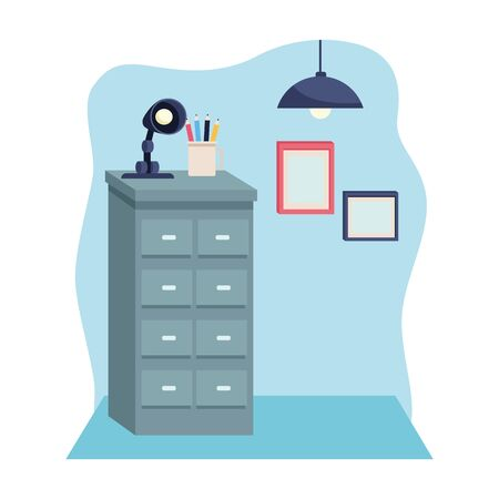 Office workplace elements drawer with light lamp and diplomas cartoons ,vector illustration graphic design.