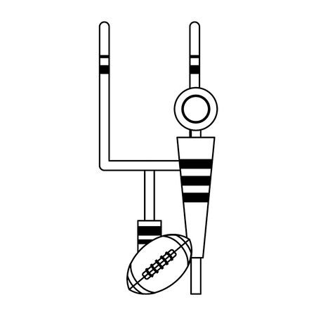 american football sport game goal post with ball and sideline cartoon vector illustration graphic design 일러스트