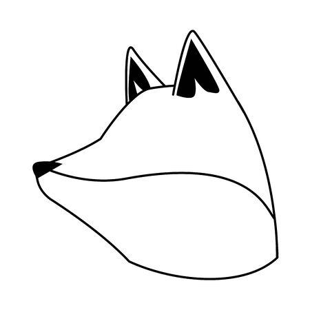cartoon fox head icon over white background, vector illustration
