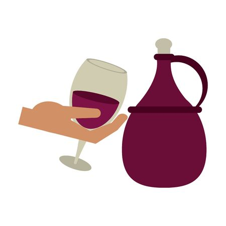 hand holding a wine glass and jug of wine over white background, vector illustration