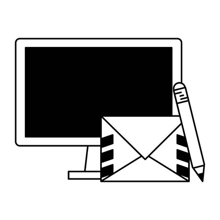 Computer and envelope with pencil symbols vector illustration graphic design