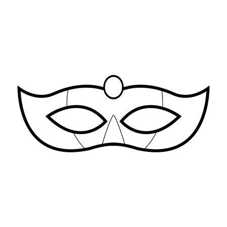 carnival mask icon over white background, black and white design. vector illustration Reklamní fotografie - 133758088