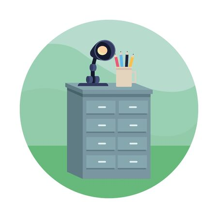 Office drawer with pencils cup and light lamp cartoon ,vector illustration graphic design.