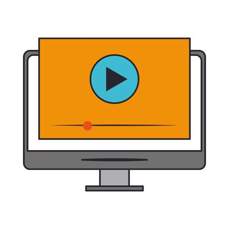 icon of computer with video player on screen over white background, vector illustration
