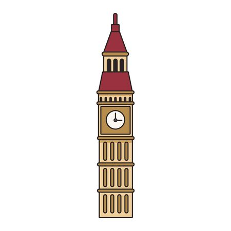 big ben icon over white background, colorful design. vector illustration
