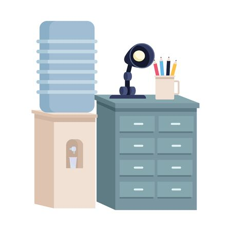Office workplace water dispenser and drawer with light lamp and pencils cartoons ,vector illustration graphic design.