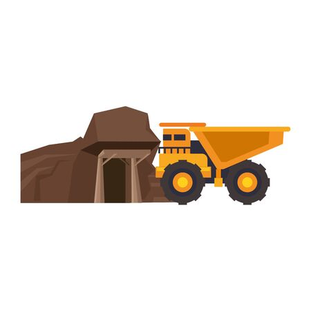 mining cargo truck vehicle and mine cartoon vector illustration graphic design Illustration
