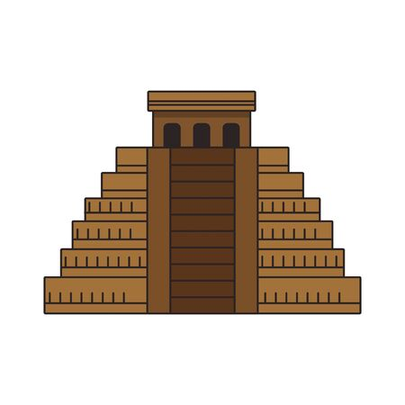Mayan pyramid icon over white background, colorful design. vector illustration 일러스트