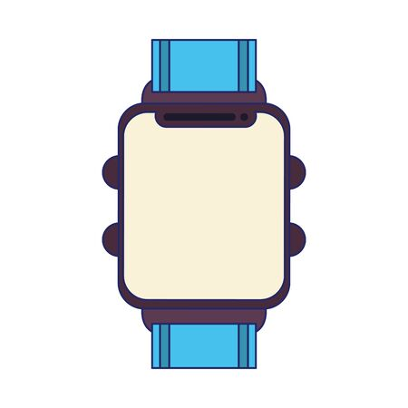 blue and black sports watch and isolated symbols vector illustration graphic design