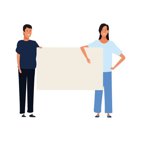 woman and man with blank poster over white background, vector illustration