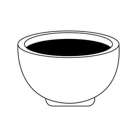 tea cup icon over white background, black and white design. vector illustration