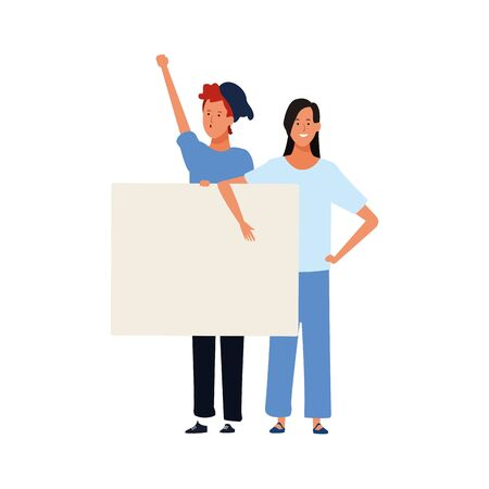 cartoon young couple with blank poster over white background, vector illustration
