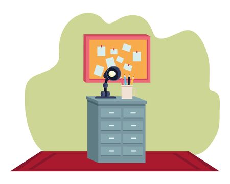 Office workplace elements light lamp and pencils on drawer with corkboard cartoons ,vector illustration graphic design. Ilustração