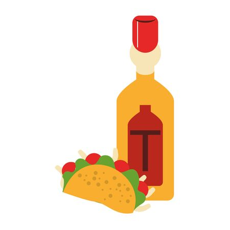 mexico culture and foods cartoons tequila bottle and taco vector illustration graphic design Illustration