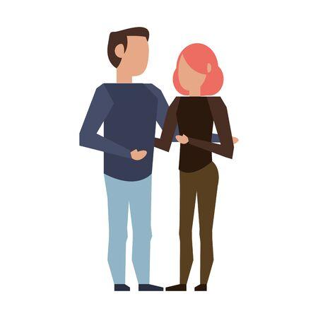 coppia amore giovane relazione partnership fumetto illustrazione vettoriale graphic design