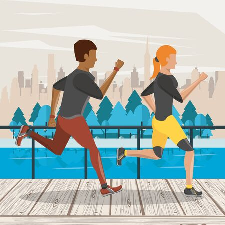 Fitness frineds couple running in the city park scenery vector illustration graphic design