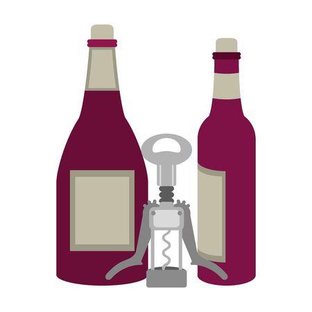 bottles of wine and corkscrew utensil icon over white background, vector illustration