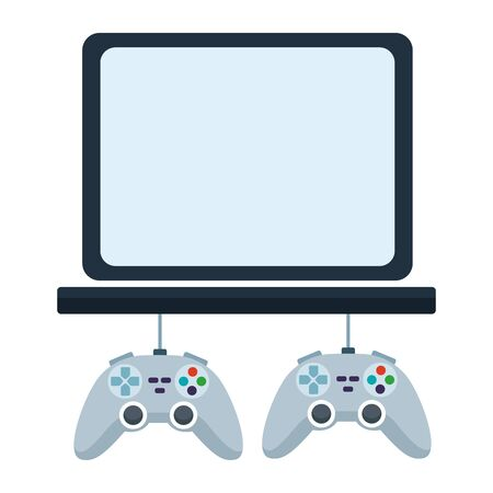 video games play console gamepads controllers with tv screen cartoon vector illustration graphic design 일러스트
