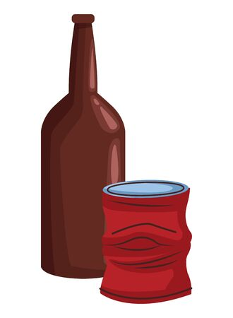 glass bottle and crumpled aluminum can icon cartoon vector illustration graphic design