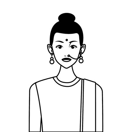 indian asian religion oriental culture, young woman wearing earrings cartoon vector illustration graphic design Banque d'images - 133758519