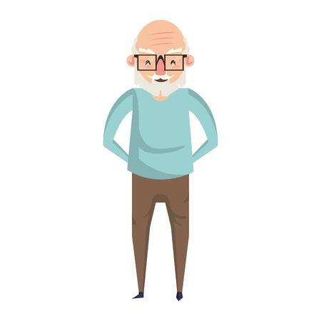 grandparent senior old retirement grandfather wearing glasses cartoon vector illustration graphic design Çizim