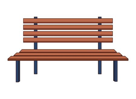 park wooden bench icon cartoon isolated vector illustration graphic design
