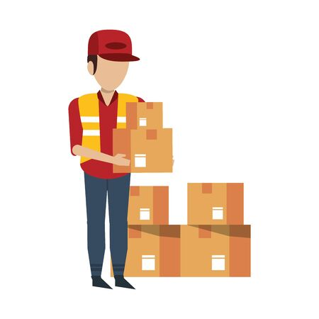 Warehouse worker holding delivery boxes vector illustration