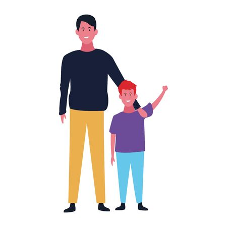 cartoon man and kid, father and son colorful design, vector illustration