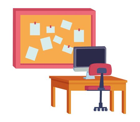 Office and workplace elements computer on desk with chair and corkboard with notes cartoons ,vector illustration graphic design. Stock Illustratie
