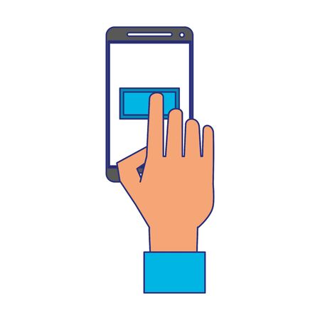 Hand touching button on smartphone screen symbol vector illustration graphic design Illustration