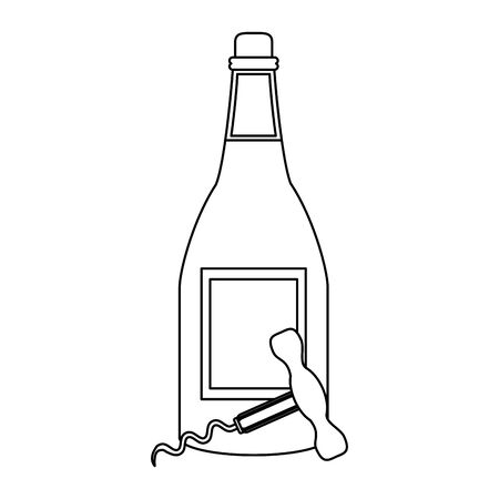 wine bottle and corkscrew utensil icon over white background, vector illustration Illustration