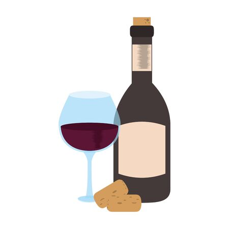 wine bottle and glass over white background, vector illustration
