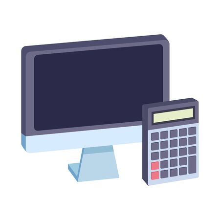 Office elements and business symbols computer and calculator ,vector illustration graphic design.