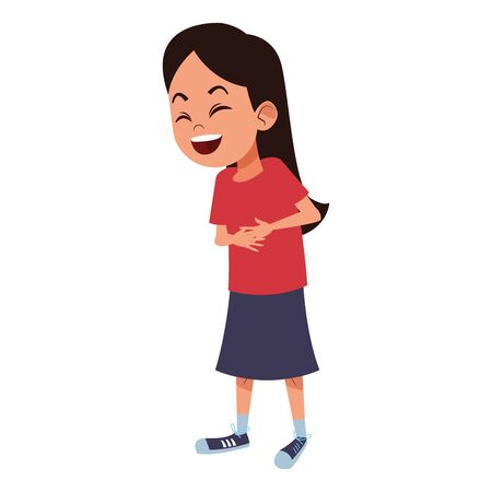 girl laughing hard and touching her stomach avatar cartoon character vector illustration graphic design