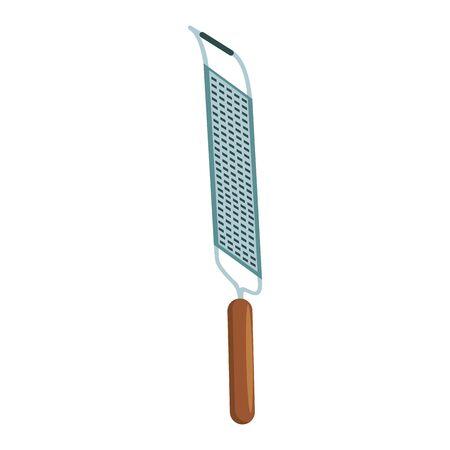 grater utensil icon over white background, vector illustration