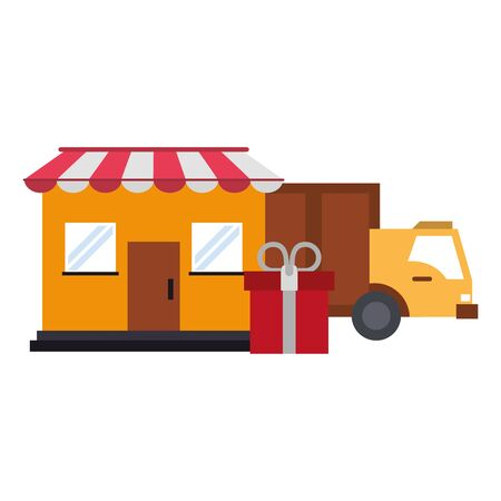 Shopping store and delivery truck witg giftbox symbols vector illustration graphic design