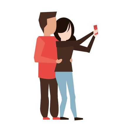 couple love young relationship partnership taking selfie cartoon vector illustration graphic design
