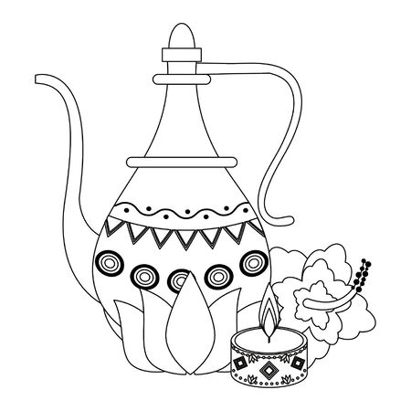 indian traditional teapot with lotus flower and lit candle icon cartoon vector illustration graphic design