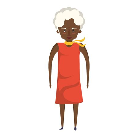 grandparent senior old retirement grandmother afro cartoon vector illustration graphic design