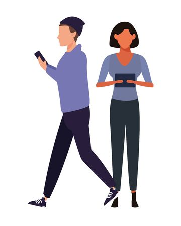 love couple with technology device cartoon vector illustration graphic design