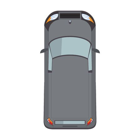 top view of classic car over white background, vector illustration Ilustracja