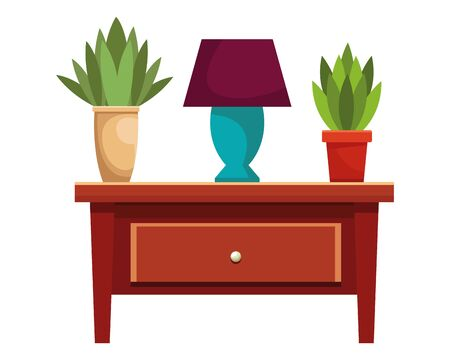 House wooden drawer with light lamp and plant pots vector illustration graphic design