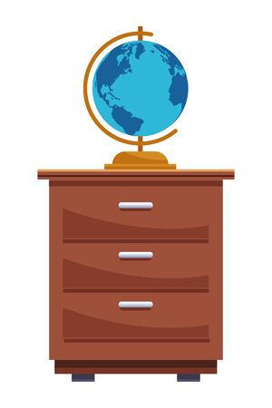 Earth world globe on cabinet cartoon ,vector illustration graphic design. Ilustração