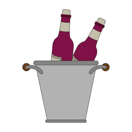 ice bucket with wine bottles over white background, vector illustration Ilustração