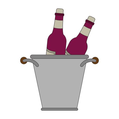 ice bucket with wine bottles over white background, vector illustration Illustration