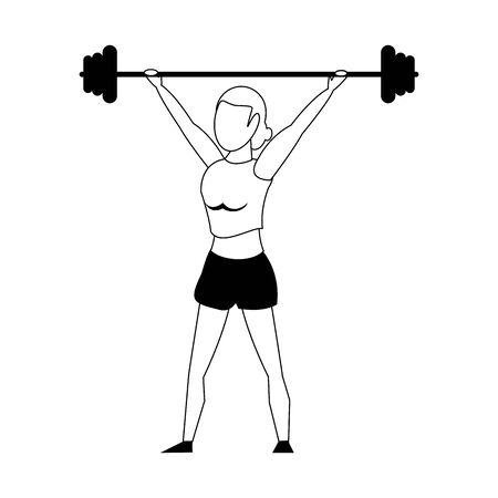 Fitness woman lifting weights isolated cartoon vector illustration graphic design