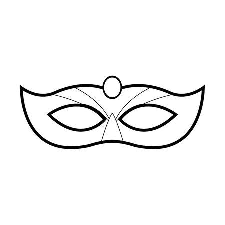carnival mask icon over white background, black and white design. vector illustration Reklamní fotografie - 133758915