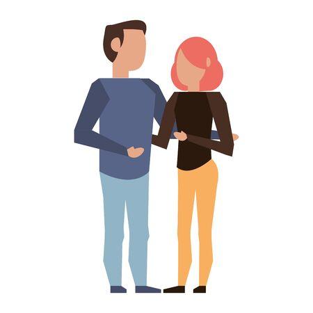 Boyfriend and girlfriend young couple faceless avatar cartoon vector illustration graphic design